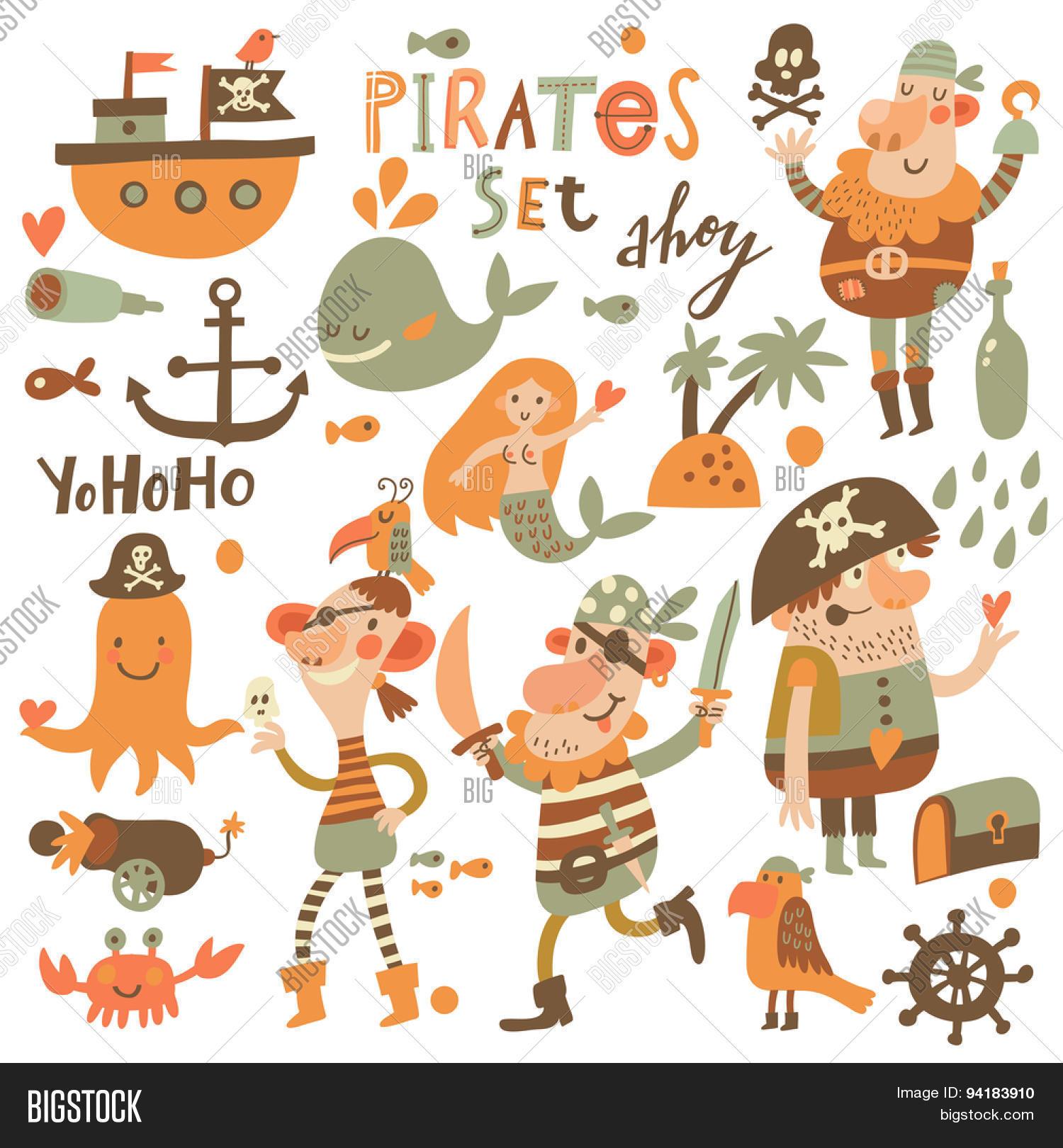 lovely pirate set cartoon style vector u0026 photo bigstock