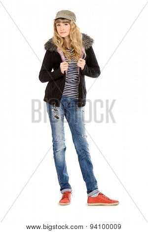 Fashion shot of a modern  teenager girl. Beauty, fashion concept. Sunglasses. Full length portrait. Isolated over white.