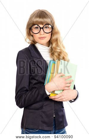 Portrait of a smart student girl in big glasses holding books. Educational concept. Isolated over white.