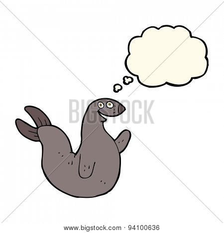 cartoon happy seal with thought bubble