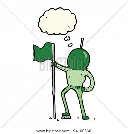 cartoon astronaut planting flag with thought bubble