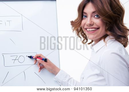 Smiling businesswoman in glasses presenting strategy on flipchart isolated on a white background. Looking at camera