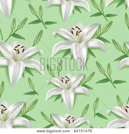 Stylish Seamless Pattern With 3D Flower Lily