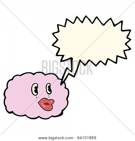 cartoon cloud symbol with speech bubble