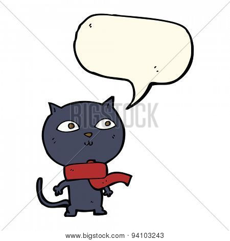cartoon black cat wearing scarf with speech bubble