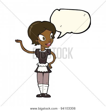cartoon woman in maid costume with speech bubble
