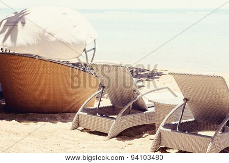 Luxury sunbeds on the beach