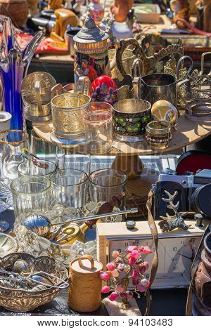 Flee market goods. Riga, Latvia. Europe.