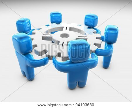 Team Working Solving Problems Concept Illustration