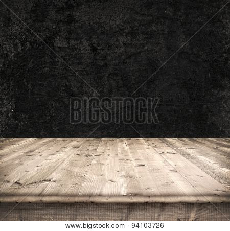 Dark background from boards and wall