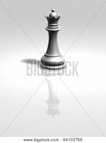 White Chess Queen Iigurine Isolated