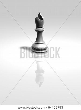 White Chess Bishop Figurine Isolated
