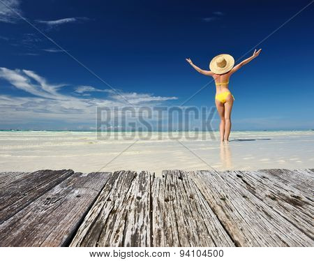 Girl on a tropical beach with outstretched arms