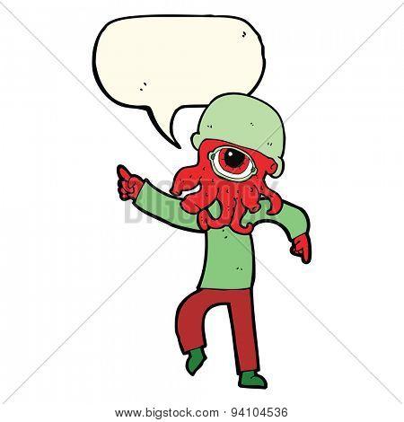 cartoon alien man dancing with speech bubble