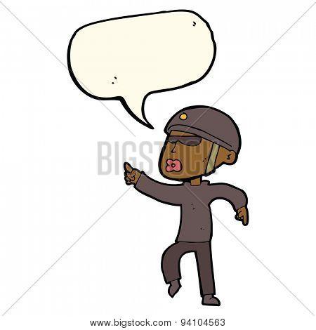 cartoon man in bike helmet pointing with speech bubble