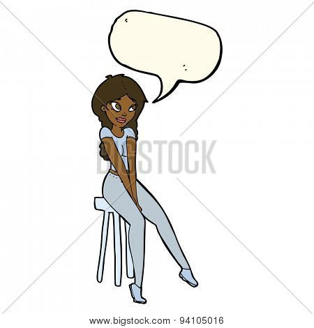 cartoon pretty girl on stool with speech bubble