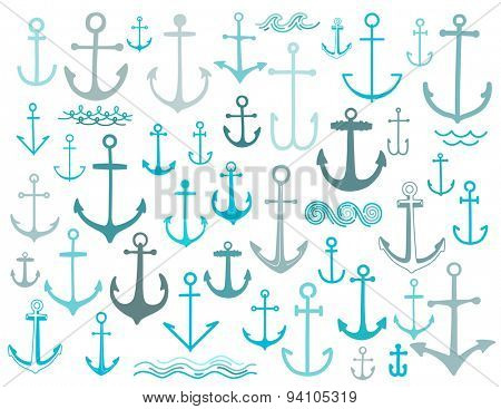 Nautical anchor print collection in vector illustration
