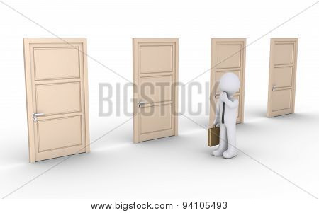 Businessman Is Confused About Right Door