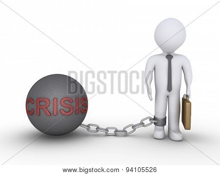 Businessman With A Crisis Chain Ball