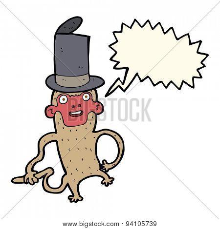 cartoon monkey wearing top hat with speech bubble