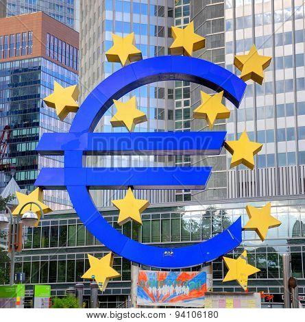 Frankfurt, Germany - Jul 12: ECB In Frankfurt With Euro Sign