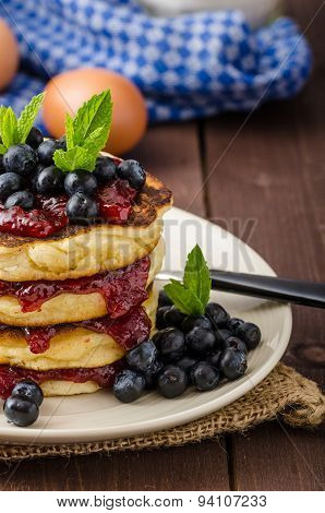 Glutten-free Pancakes With Jam And Blueberries