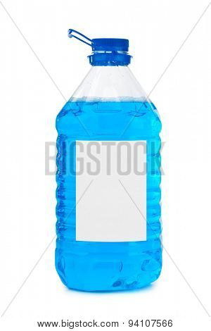 Bottle with blue liquid and blank label isolated on white background
