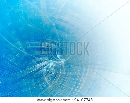 Abstract blue and white background with twisted net pattern