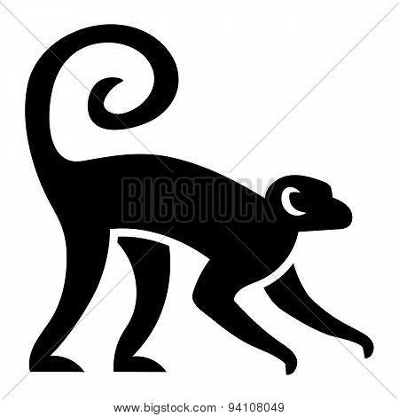 Vector Stylized Monkey Illustration Isolated On White Background
