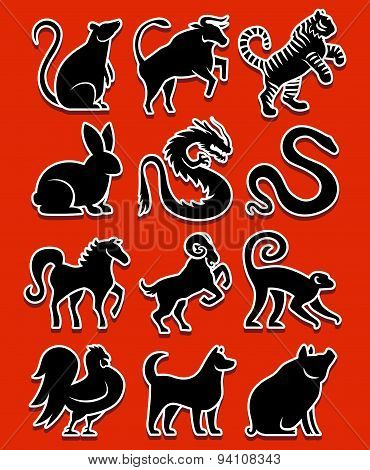 Vector Set Of Stylized Chinese Zodiac Signs