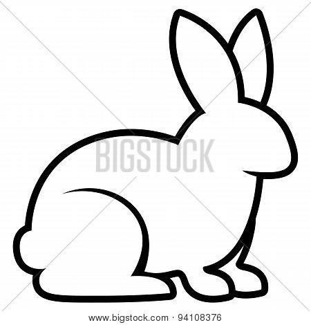 Vector Stylized Rabbit Illustration Isolated On White Background