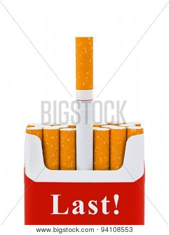 Last cigarette - stop smoking concept - isolated on white background