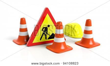 Traffic cones,helmet and warning sign isolated on white background