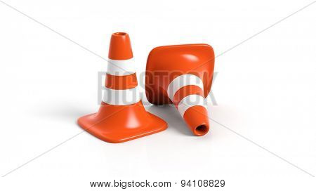 Orange traffic cones isolated on white background