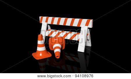 Orange traffic cones and barrier isolated on black background