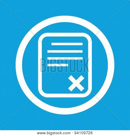Declined document sign icon