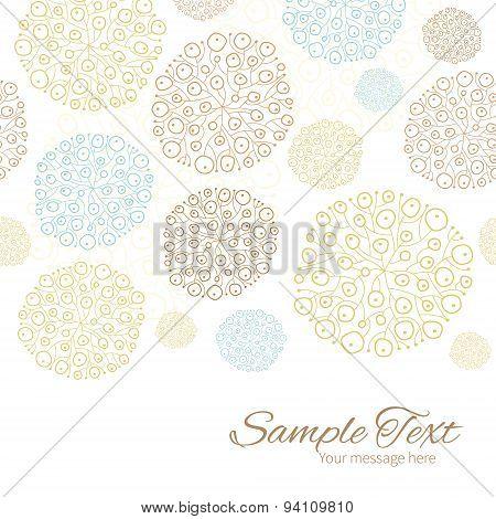 Vector blue brown abstract seaweed texture horizontal border card template