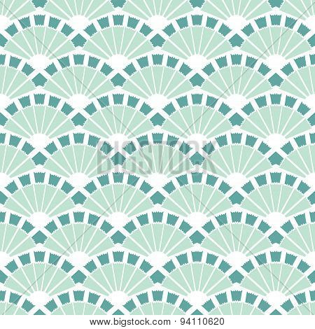 Vector Sea Green Fans Abstract Seamless Pattern