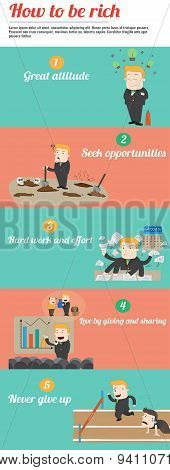 How To Be Rich Infographic Template Design With Sample Text Layout, Create By Vector