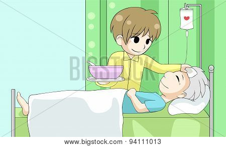 Cute Cartoon Son Is Nursing His Old Sick Father With Love And Care In The House, Create By Vector