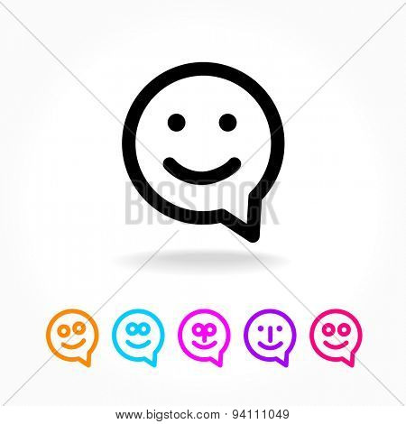 Happy smile - face chat speech bubble icon. Template for design.