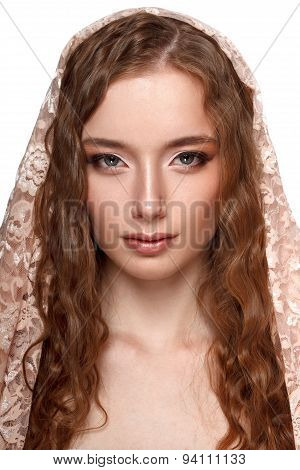 beauty model portrait with headscarf