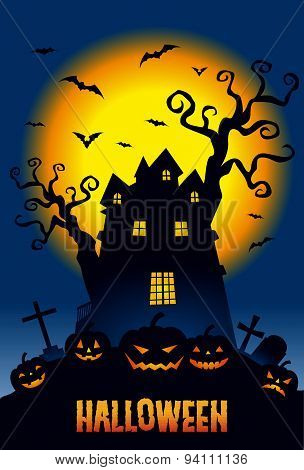 Halloween, Pumpkins And A Haunted Mansion In Full Moon Night