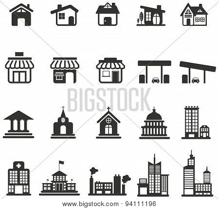 Silhouette House, Church, Shop, Building, And Other Public Construction Architecture Icon Set, Creat