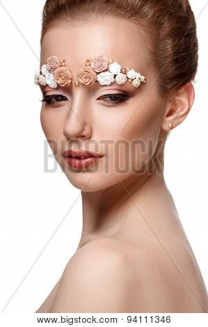 beauty model portrait with creative eyebrows