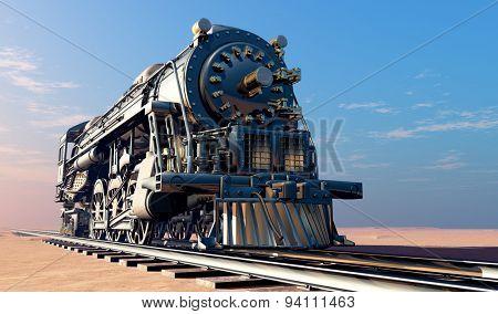 Old steam locomotive in the desert.