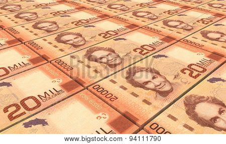 Costa Rican colon bills stacks background.