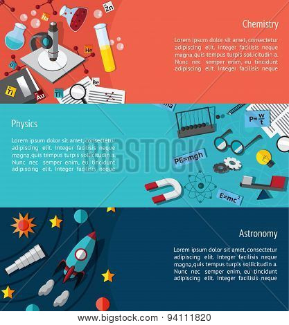 Science Education Infographic Banner Template Layout Such As Physics, Chemistry And Astonomy Backgro