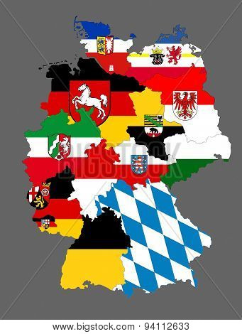 Germany Regions Flag Map