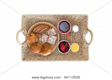 Wicker Breakfast Tray On White Background